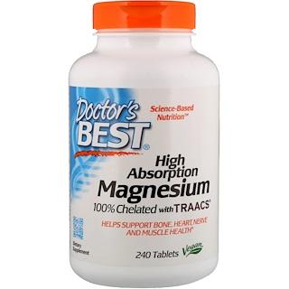 Doctor's Best, Magnesio de alta absorción, 100 % quelatado con TRAACS, 240 tabletas