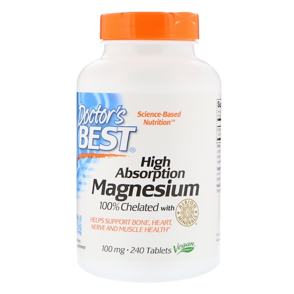 Doctor's Best, High Absorption Magnesium, 100% Chelated with Albion Minerals, 240 Tablets