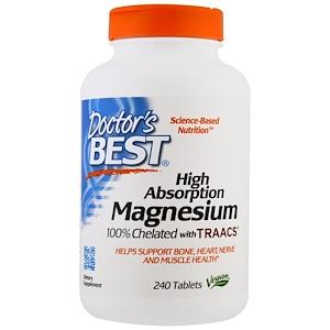 Doctor's Best,ハイアブソープションマグネシウム,100%キレート化、TRAACS配合,240錠