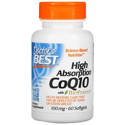 Doctors Best коэнзим Q10 с высокой степенью усвоения с BioPerine, 100мг, 60мягких таблеток