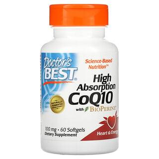 Doctor's Best, коэнзим Q10 с высокой степенью усвоения с BioPerine, 100мг, 60мягких таблеток