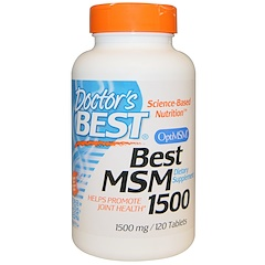 Doctor's Best, Best MSM, 1500 mg, 120 Tabletes