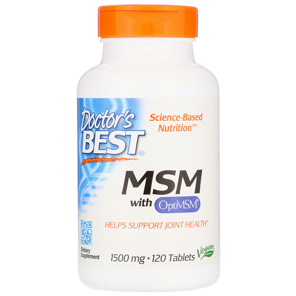 "Doctor's Best, MSM עם OptiMSM0‏, 1,500 מ""ג, 120 טבליות"