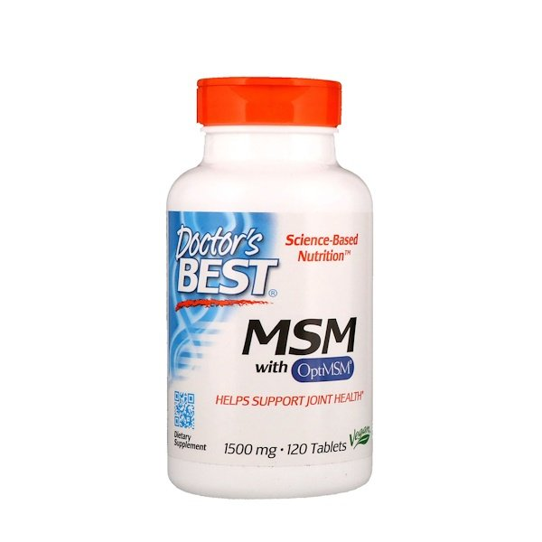 Doctor's Best, MSM com OptiMSM, 1.500 mg, 120 Comprimidos