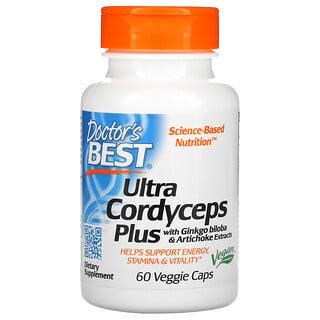 Doctor's Best, Ultra Cordyceps Plus, кордицепс с добавлением экстрактов гинкго билоба и артишока, 60вегетарианских капсул