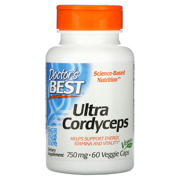 Doctor's Best, Ultra Cordyceps, 750 mg, 60 cápsulas vegetales