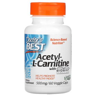 Doctors Best ацетил-L-карнитин с карнитинами Biosint, 500мг, 60вегетарианских капсул