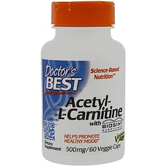 Doctor's Best, Ацетил-L-карнитин с Biosint Carnitines, 500 мг, 60 вегетарианских капсул
