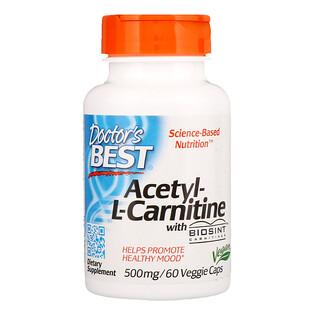Doctor's Best, Acetil-L-Carnitina con Biosint Carnitines, 500 mg, 60 cápsulas vegetarianas