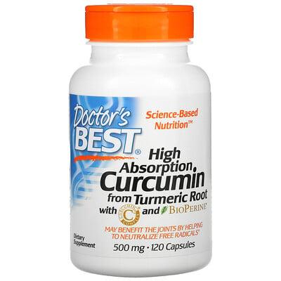 Doctor's Best Легкоусвояемый куркумин, 500 мг, 120 капсул