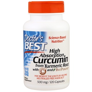 Doctor's Best, クルクミン, 高吸収, 500 mg, 120カプセル