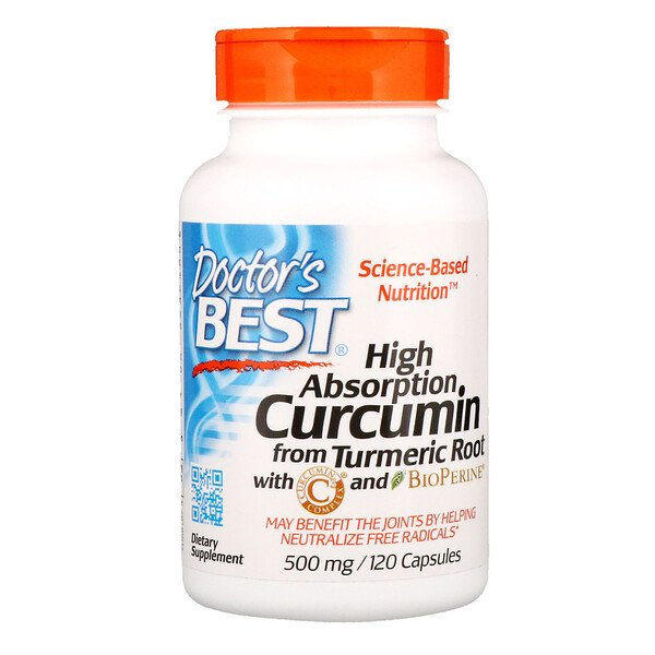 Doctor's Best, Curcumine, Haute absorption, 500 mg, 120 capsules