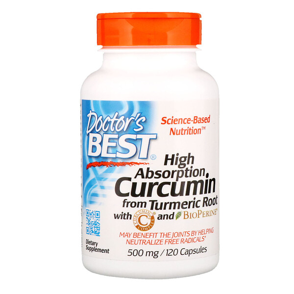 Doctor's Best, High Absorption Curcumin, 500 mg, 120 Capsules