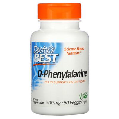 Doctor's Best D-фенилаланин, 500 мг, 60 вегетарианских капсул