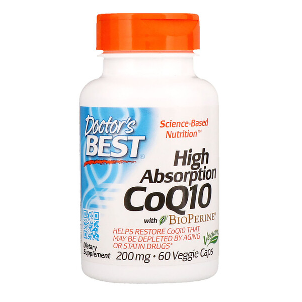 High Absorption CoQ10 with BioPerine, 200 mg, 60 Veggie Caps