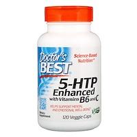 5-HTP, усиленный витаминами B6 и C, 120 растительных капсул - фото