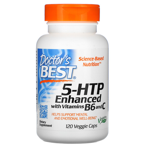 5-HTP, Enhanced with Vitamins B6 & C, 120 Veggie Caps