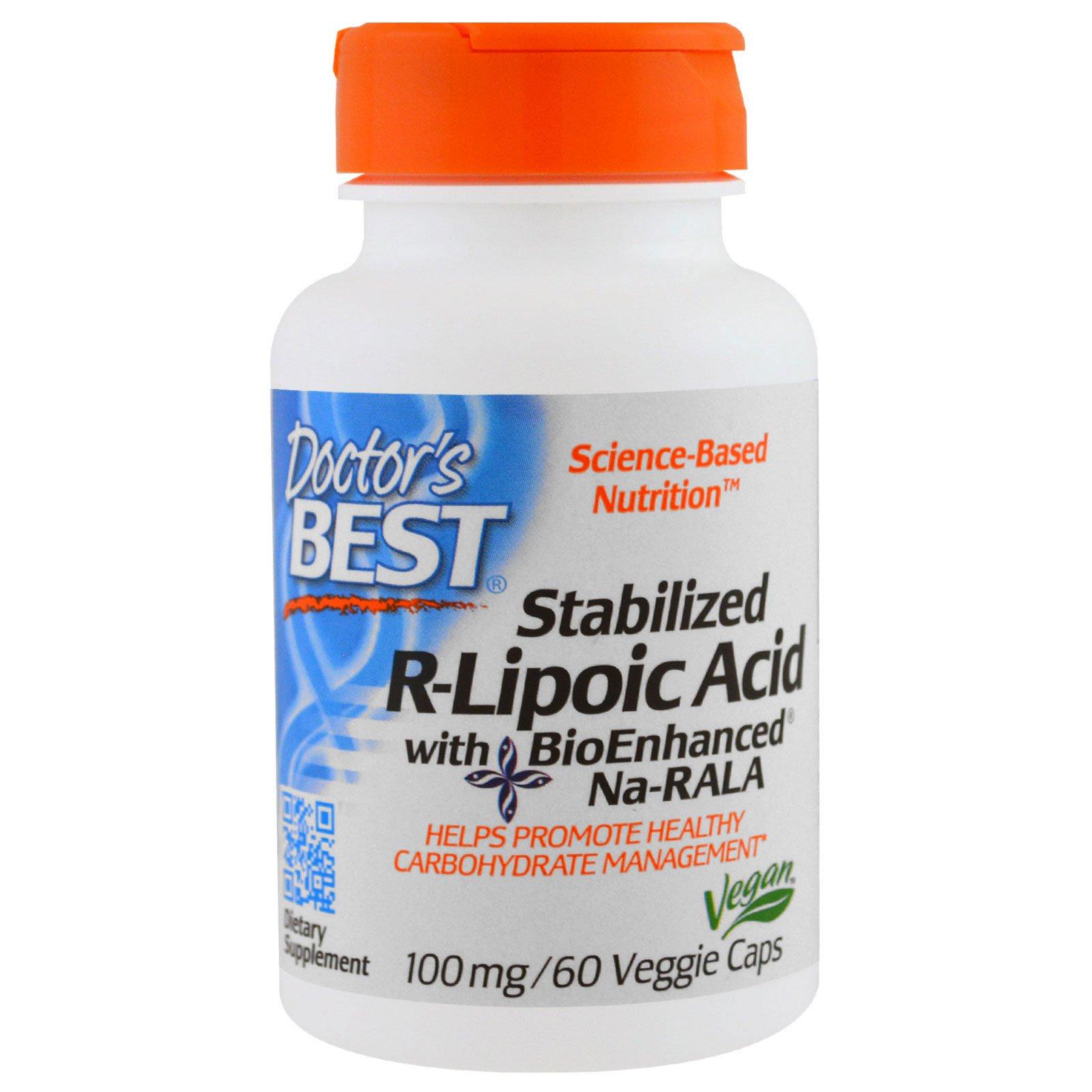 Doctor's Best, Стабилизирующая R-липоевая кислота (Best Stabilized R-Lipoic Acid), 100 мг, 60 растительных капсул