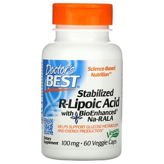 Doctor's Best, стабилизированная R-липоевая кислота с BioEnhanced Na-RALA, 100мг, 60растительных капсул
