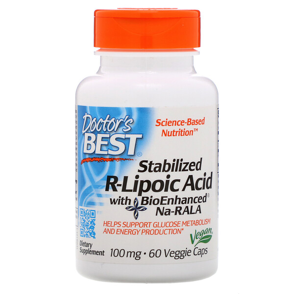 Doctor's Best, Stabilized R-Lipoic Acid with BioEnhanced Na-RALA, 100 mg, 60 Veggie Caps