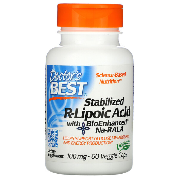 Doctor's Best, Best Stabilized R-Lipoic Acid、100 mg、植物性カプセル 60粒