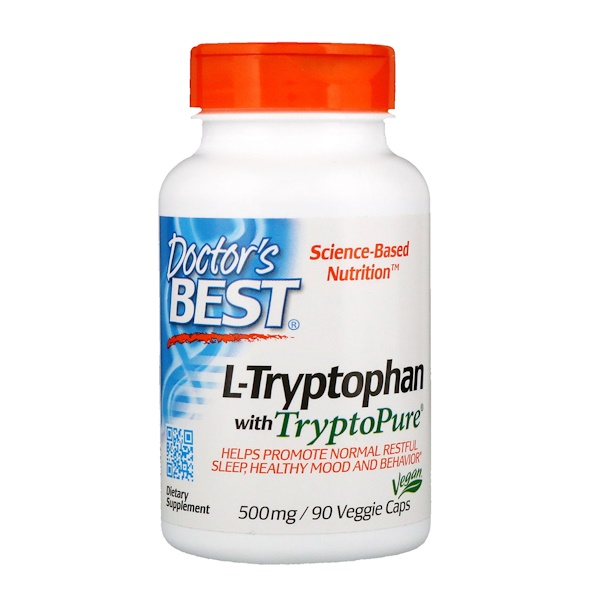 L-Tryptophan with TryptoPure, 500 mg, 90 Veggie Caps