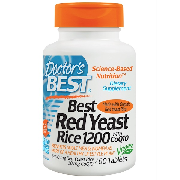 Doctor's Best, Best Red Yeast Rice 1200, with CoQ10, 1200 mg/30 mg, 60 Tablets (Discontinued Item)