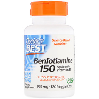 Doctor's Best, Benfotiamine 150, Fat-Soluble Vitamin B1, 150 mg, 120 Veggie Caps