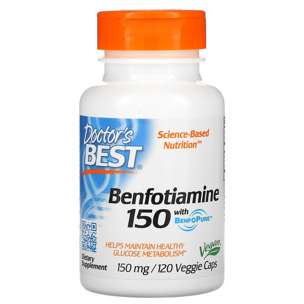 Doctor's Best, Benfotiamine 150 with BenfoPure, 150 mg, 120 Veggie Caps