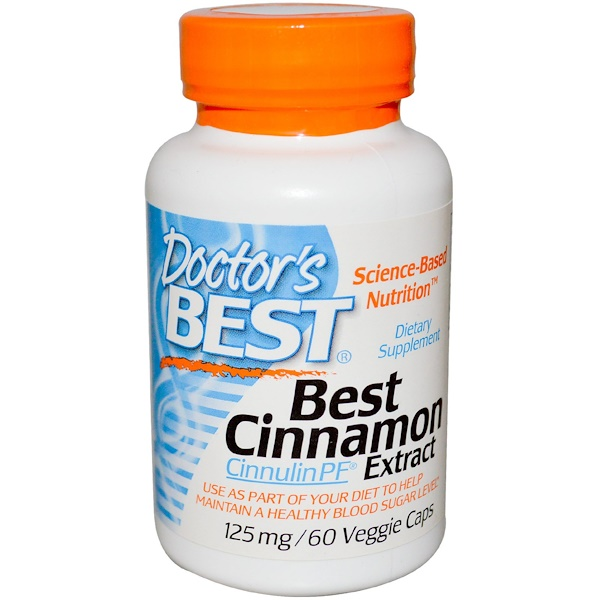 Doctor's Best, Best Cinnamon Extract with Cinnulin PF, 125 mg, 60 Veggie Caps