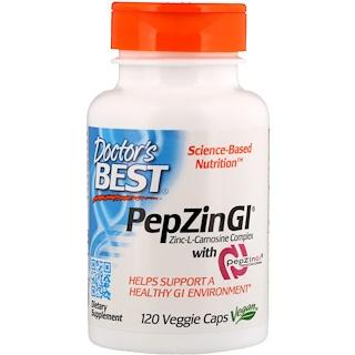 Doctor's Best, PepZin GI, комплекс цинк-L-карнозина, 120растительных капсул