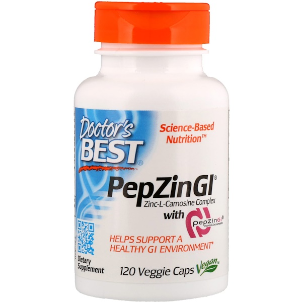Doctor's Best, PepZin GI، مركب زنك ل-كارنوزين، 120 كبسولة نباتية