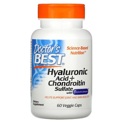 Doctor's Best Hyaluronic Acid + Chondroitin Sulfate with BioCell Collagen, 60 Veggie Caps