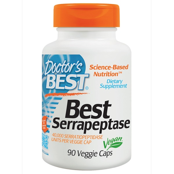 Doctor's Best, Best Serrapeptase, 40,000 SPU, 90 Veggie Caps