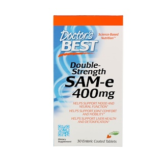 Doctor's Best, SAM-e, Double-Strength, 400 mg, 30 Enteric Coated Tablets
