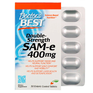 Doctor's Best, SAM-e,雙倍功效,400 毫克,30 片腸溶片