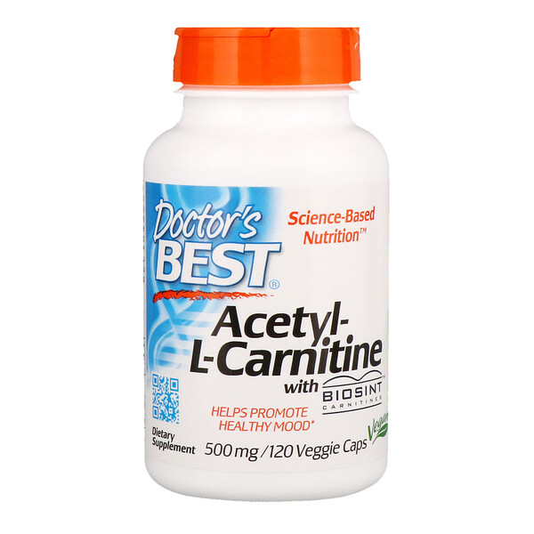 Doctor's Best, Acetyl-L-Carnitina, 500 mg, 120 Cápsulas Vegetais