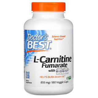 Doctor's Best, L-Carnitine Fumarate with Biosint Carnitines, 855 mg, 180 Veggie Caps
