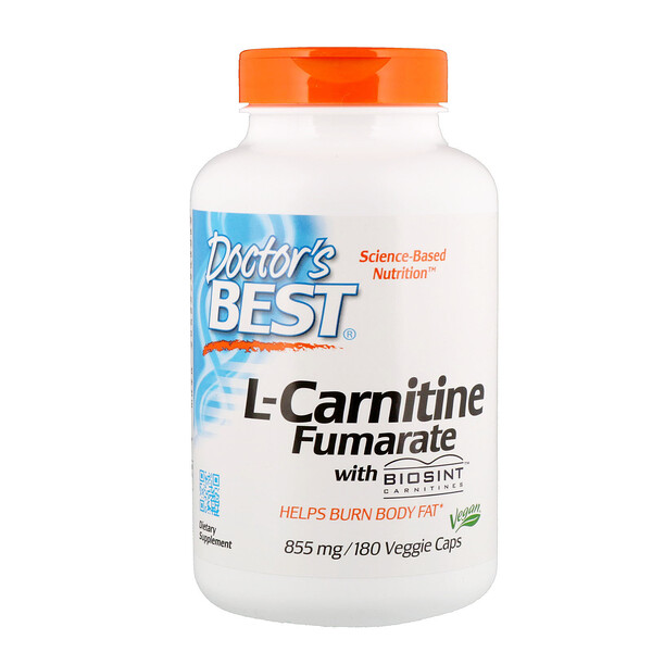 Doctor's Best, L-Carnitine Fumarate avec carnitines Biosint, 855 mg, 180 Veggie Caps