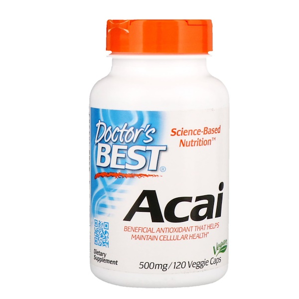 Doctor's Best, Acai, 500 mg, 120 كبسولة نباتية