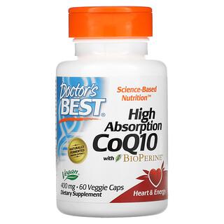 Doctor's Best, 高吸收率輔酶 Q10,含 BioPerine,400 毫克,60 粒素食膠囊