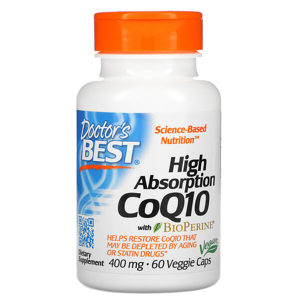 High Absorption CoQ10 with BioPerine, 400 mg, 60 Veggie Caps