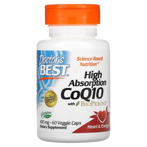 Doctor's Best, CoQ10 de alta absorción con BioPerine, 400mg, 60cápsulas vegetales