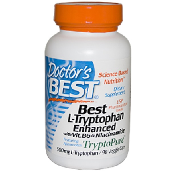 Doctor's Best, Best L-Tryptophan, Tryptopure, Enhanced with Vit. B6 & Niacinamide , 500 mg, 90 Veggie Caps (Discontinued Item)