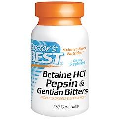 Doctor's Best, Betaine HCL Pepsin & Gentian Bitters، عدد 120 كبسولة