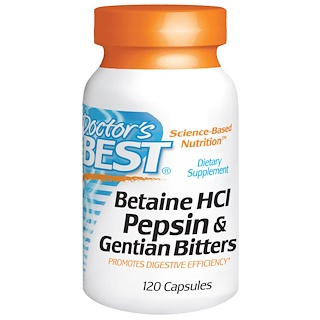 Doctor's Best, Горькая настойка из бетаина гидрохлорида, пепсина и генцианы (Betaine HCL Pepsin & Gentian Bitters), 120 капсул