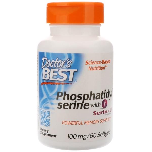Doctor's Best, Best Phosphatidylserine with SerinAid, 100 mg, 60 Softgels