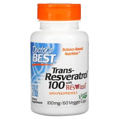 Doctors Best транс-ресвератрол 100 с ResVinol, 100мг, 60вегетарианских капсул