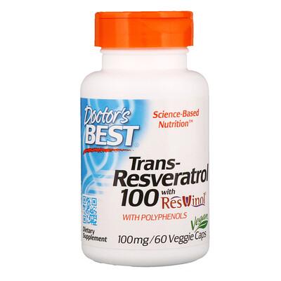 Транс-ресвератрол с экстрактом ResVinol, 100мг, 60растительных капсул