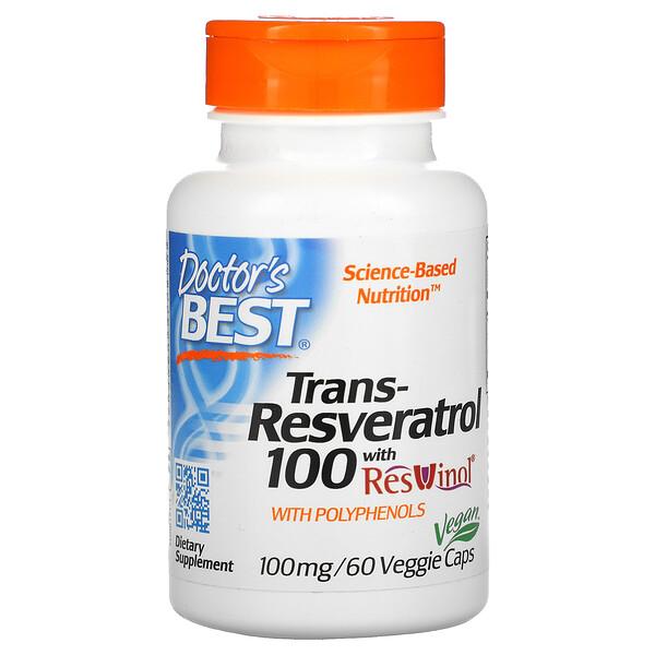 Trans-Resveratrol with Resvinol, 100 mg, 60 Veggie Caps